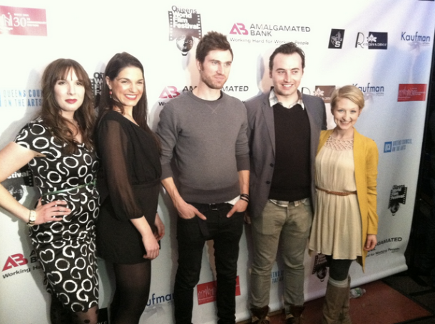 Emily with the rest of the cast of her latest film FAMILY FEAST at the Queens World Film Festival