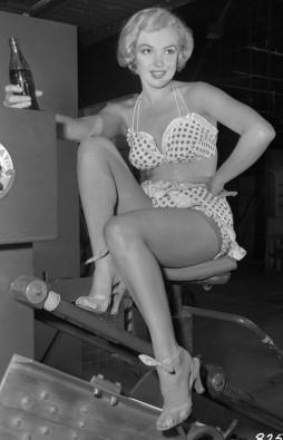 Marilyn Monroe Sitting in Bathing Suit