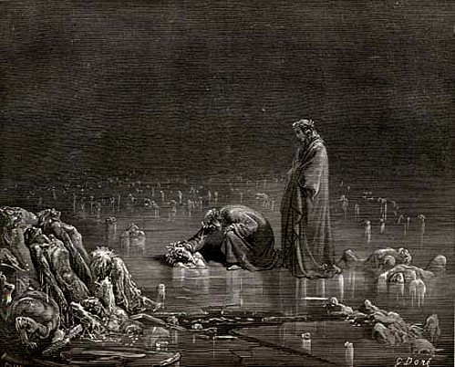 Dante speaks to the traitors in the ice, Canto 32