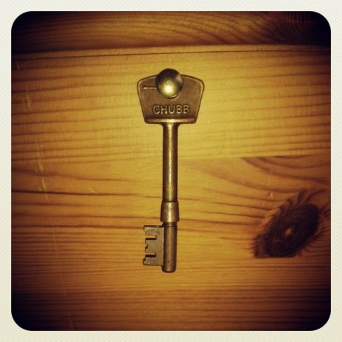 A key, which hangs on my bedpost.