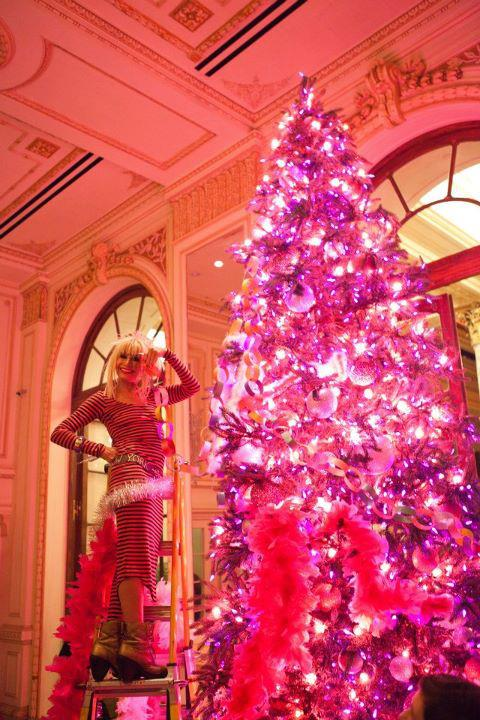 The Plaza Hotel's hot pink Betsey Johnson Christmas Tree. Yes, please.