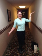 I paired a Pinup Girl Clothing pencil skirt with a new sweater for a conference day, and added a vintage bird brooch.