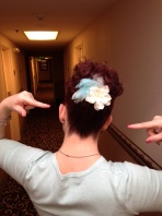Super cute hair accessory my sister Alicia made for me.